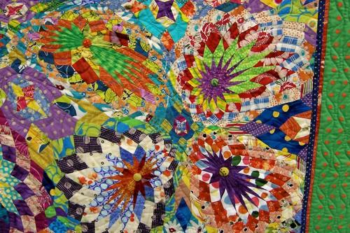 Distorted sunburst quilt detail